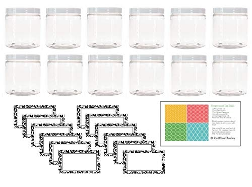 Clear 8 oz Plastic Jars with White Lids (12 pk) with Labels