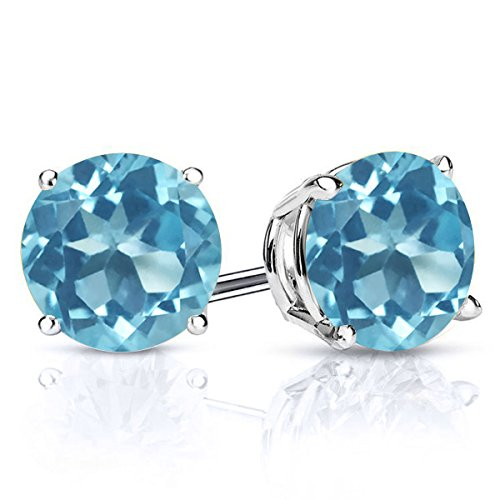 Gem Stone King 925 Sterling Silver Swiss Blue Topaz Gemstone Birthstone Stud Earrings, 3.10 Ctw Round 7MM