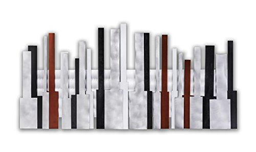 Nova Lighting Metro Collection Contemporary Living Room Wall Art With Abstract Skyscraper Design Finish Garnet/White