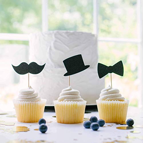 Black Little Man Cupcake Toppers Baby Shower 1st Birthday Moustache Top Hat Bowtie Set of 12