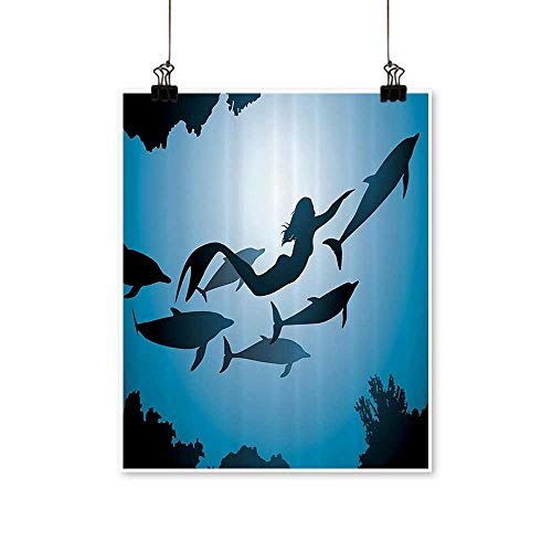 1 Piece Wall Art Painting The Mermaid and Dolphins Underwater Friendship Travel Diving Fin Sea Bathroom Living Room Office Decoration,24