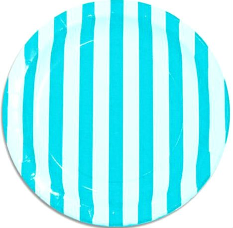Custom-Unique-9-Inch-8-Count-Multi-Pack-Set-of-Medium-Size-Round-Circle-Disposable-Paper-Plates-w-Summer-Stripes-Bash-Bright-Striped-Style-Teal-White-Colored
