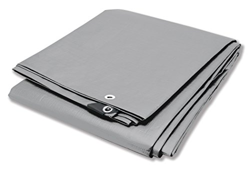 Silver Tarp Cover - Performance Tool W7004 Reinforced Water Resistant Multi Purpose Heavy Duty Silver Tarp, 10Mil, 8' x 10'