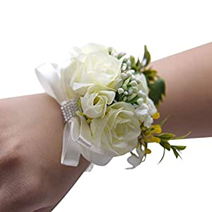 2 Pcs White Wedding Bride Wrist Corsage Bridesmaid Wrist Flower Artificial Rose Ribbon Bow Bracelet for Wedding Prom Party 73