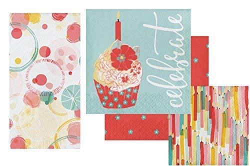 Celebration Napkins Set - Bundle Includes Guest Napkins/Towels, Lunch Napkins, and Beverage Napkins in Celebrate Designs by Elise