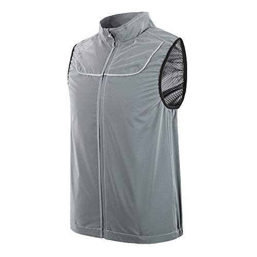 ROADSTAR Women Mens Reflective Vest Hight Visibility Riding Vest for Cycling Running Bike Silver M