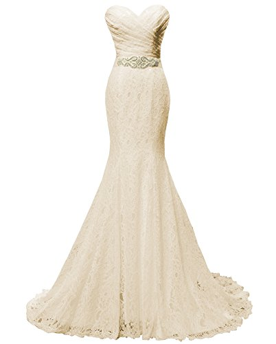 Solovedress Women's Lace Wedding Dress Mermaid Evening Dress Bridal Gown with Sash (Customize Size, Champagne)