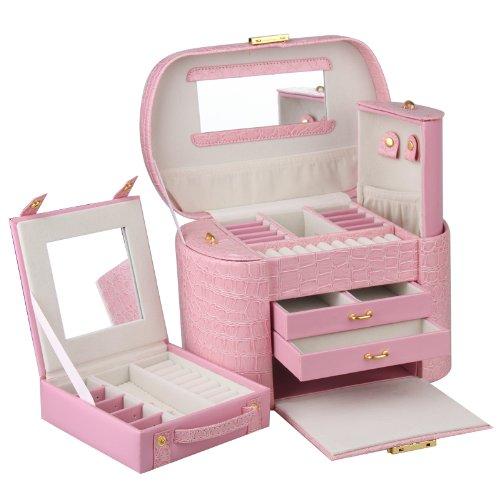 ROWLING Schatulle Schmuckkoffer Schmuckkasten Schmuckkästchen Schmuckaufbewahrung Pink ZG152