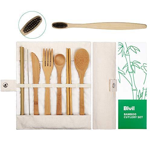 Bamboo Utensils Cutlery Set | Reusable Utensils | Bamboo Travel Cutlery | Knife, Fork, Spoon, Reusable Straw, Chopsticks | Portable Utensils Set