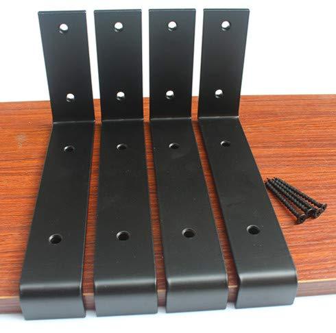 4 Pack 7.25L x 4H x 1.5W 5mm Thick Black Lip Shelf Bracket Heavy Duty Rustic Industrial Farmhouse Iron Metal Wall Floating Shelf Bracket Industrial Shelf Bracket Shelf Supports with Screws