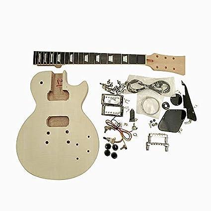 Gdlpms Hazlo Tú Mismo Guitarra Eléctrica Kits, Macizo Caoba Cuerpo, Flameado Arce Chapa Set
