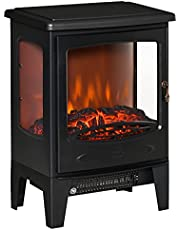 HOMCOM Electric Fireplace Heater, Freestanding Fireplace Stove with Realistic Adjustable Flame Effect and Adjustable Temperature, Overheating Safety Protection, 750W/1500W, Black