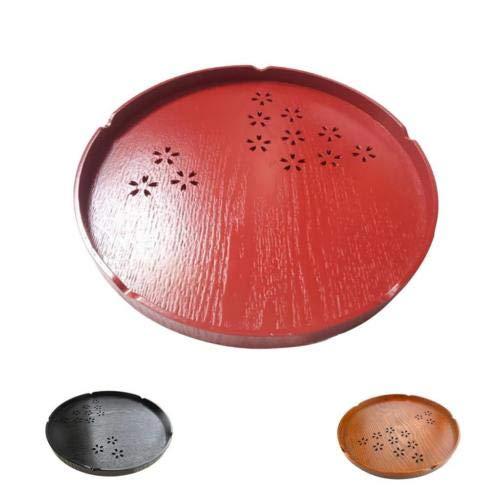 FidgetGear Wooden Serving Tray Pizza Tea Food Platter Home Decor Fruit Plate Round Tray Black 30x2cm from FidgetGear