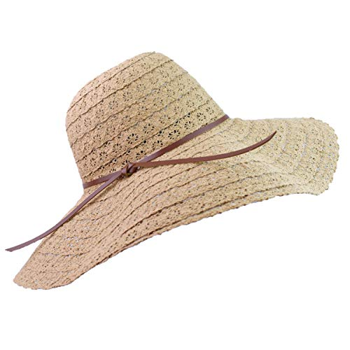 - Women Summer Beach Sun Hats Foldable Floppy Packable UV Hat Knit Braided Trim Vented Cotton Wide Brim Fedora Dress Cap Cover (Kakhi_B)