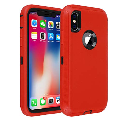 smartelf Compatible with iPhone X/Xs/10 Case Heavy Duty Shockproof Drop Proof Protective Cover Hard Shell for Apple iPhone Xs 5.8 inch-Red/Black