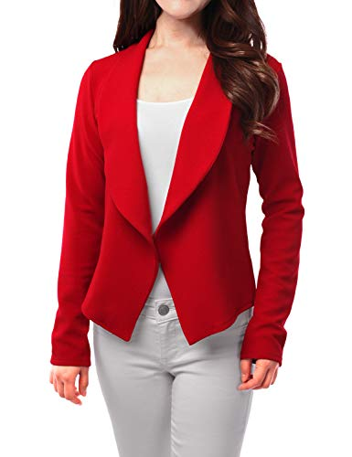 FASHIONOMIC Womens Light Weight Casual Work Office Open Front Blazer Cardigan Jacket (CLBC002) RED L