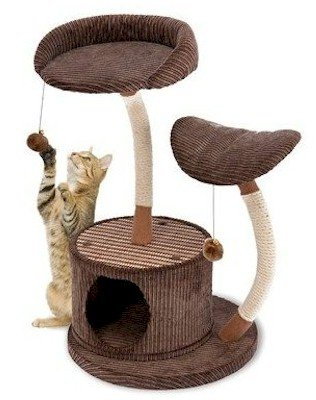 Domestic Pet Cat Furniture Two Level Lounge Activity Center With Retreat Hide Away Different