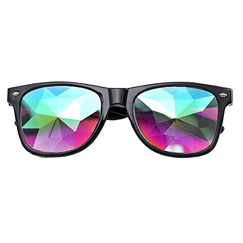 Whitegeese Festivals Kaleidoscope Glasses Rainbow Prism Sunglasses Goggles (Black)