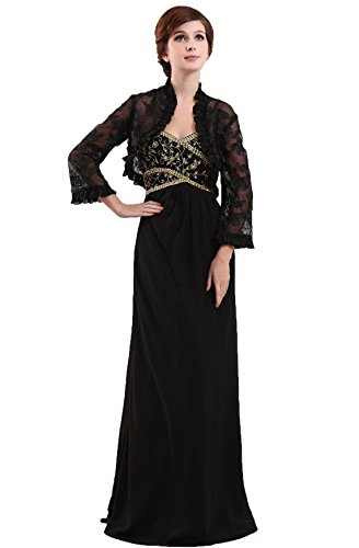 Snowskite Women's Strapless Long Black Chiffon Mother of Bride Dress with Lace Jacket 10