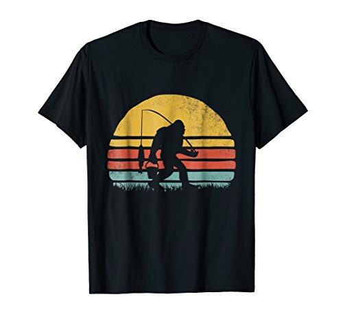 awesome fishing bigfoot sunset t-shirt men women kids