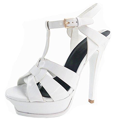 RAZAMAZA Mujer Tac¨®n De Aguja Sandalias T-strap Plataforma tacon Alto Boda Zapatos Blanco
