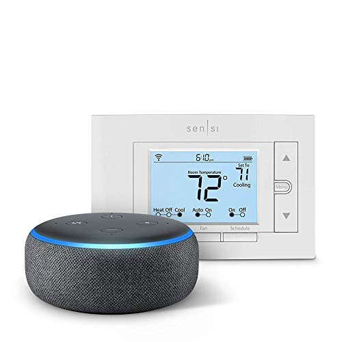 Emerson Sensi Wi-Fi Smart Thermostat for Smart Home, DIY Version with Echo Dot (3rd Gen) Charcoal