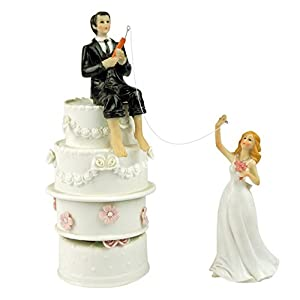 hooked on love wedding cake topper hooked on fishing groom and reaching 15312