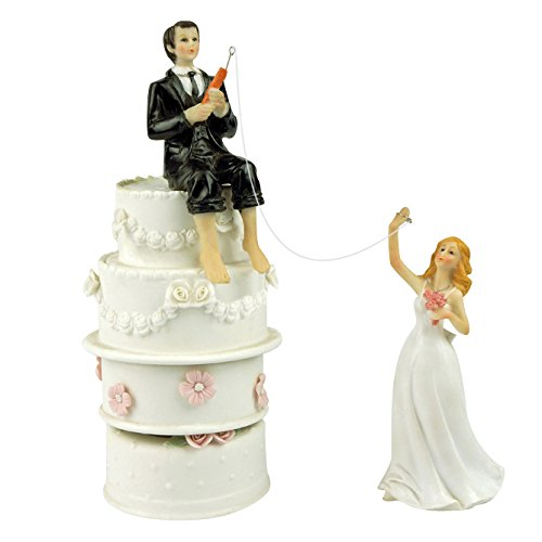 Hooked on Love Fishing Groom and Reaching Bride Wedding Cake Toppers ()