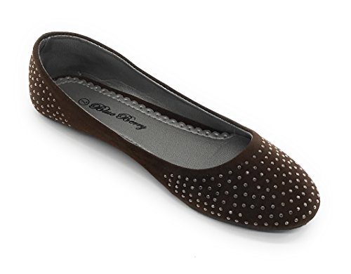 Blue Berry EASY21 Womens Casual Flats Ballet Fashion Shoes Faux Leather Brown15 eCjeOhyNS