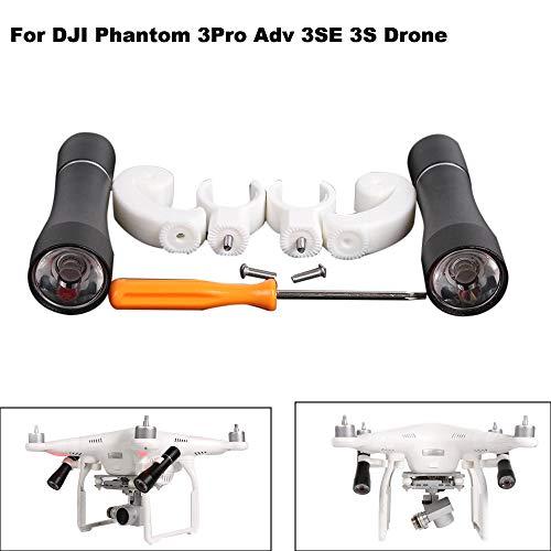 Hisoul Hot  for DJI Phantom 3Pro Adv 3SE 3S Drone Night Light 360° Night LED Lamp Headlight Flight Light (Black) (Cell Flight)