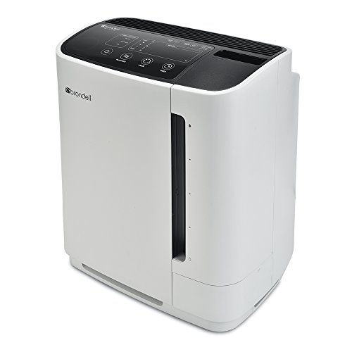 Brondell Air Purifier O2 Revive Air Purification System with Humidifier – Allergy Relief and Odor Eliminator – Dual True HEPA Air Washer for Dust, Mold, Smoke, Off-Gassing, and Pets White