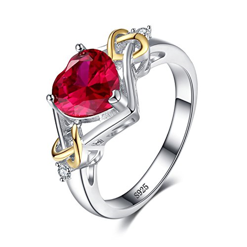 JewelryPalace Love Knot Heart 2.5ct Created Red Ruby Anniversary Promise Ring 925 Sterling Silver 18K Yellow Gold Size 8