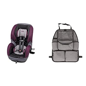 Evenflo SureRide DLX Convertible Car Seat Sugar Plum With Deluxe Backseat Organizer Grey