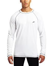 Speedo Men's UPF 50+ Easy Long Sleeve Rashguard Swim Tee, White, Large
