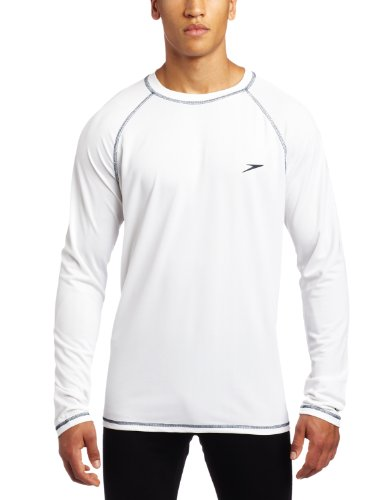 Speedo Men's UPF 50+ Easy Long Sleeve Rashguard Swim Tee, White, X-Large