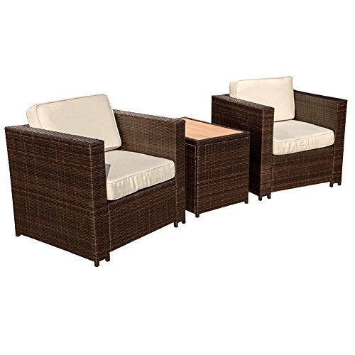 Sundale Outdoor 3 Piece Aluminum Wicker Chat Set - All Weather Chat Group with Cushions,Dark Brown - 3 Piece Wicker Chair