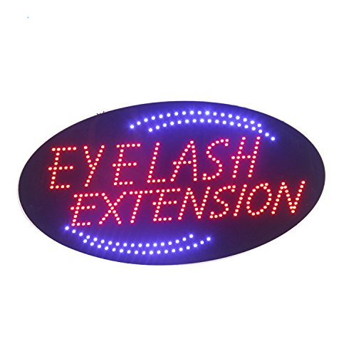 LED Eyelash Extension Open Light Sign Super Bright Electric Advertising Display Board for Eyebrow Threading Waxing Business Shop Store Window Bedroom (19 x 10 inches) ()
