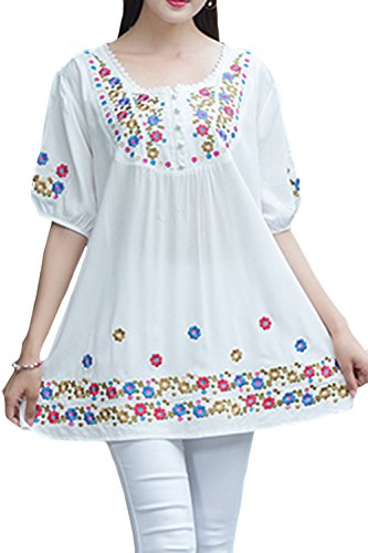 - ASHER FASHION Girls Embroidered Peasant Tops Bohemian Blouses Tunic (Medium, White#2)