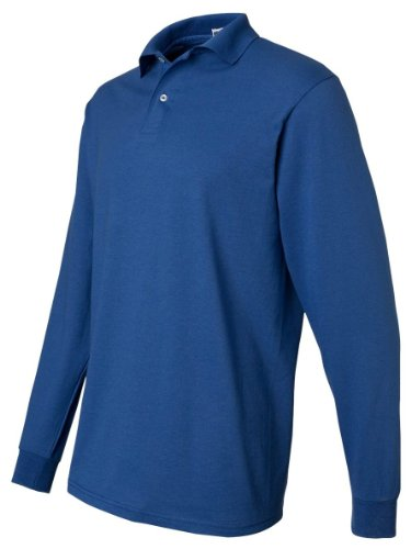 (Jerzees 50/50 Long Sleeve Knit Polo with SpotShield Stain Resistance, M,)