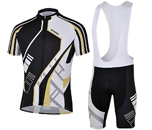 MYNEKO Mens Short Sleeve Cycling Jersey 3D Padded Bib Short - Cycling Mens Bib