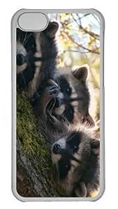 coolest case Cute Raccoons PC Transparent case for iphone 5C