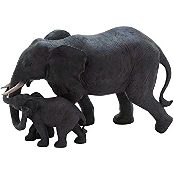 Benzara Mother and Baby African Elephant Poly Stone Statue, Loving Embrace