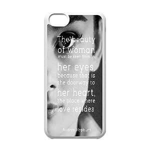 IPhone 5C Case Audrey Hepburn Quotes, [White]