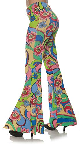 Underwraps Women's Retro 60's Inspired Paisley Costume Bell Bottom Pants, Multi, Large/X-Large ()