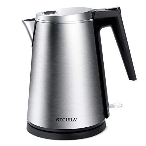Secura K15-F1E The Original Double Wall Stainless Steel Electric Kettle Water Heater for Tea Coffee w Auto Shut-Off and Boil-Dry Protection, 1.5L 1.6Qt, Silver
