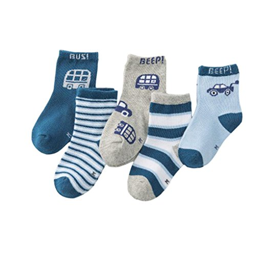 5 Pairs Baby Boy Girl Letter Print Cotton Infant Kids Socks, Freshzone (L)