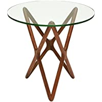 Centauri Modern Classic Glass Top Wood Mid Century Base Side Table