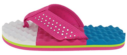Price comparison product image Capelli New York Girls Colorblocked Egg Crate Textured Flip Flops Turq Combo 10/11