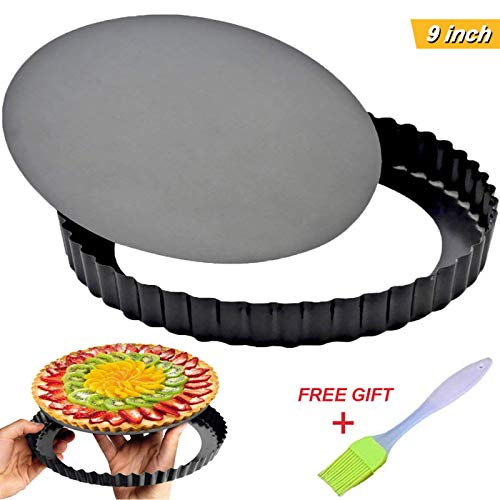 (Tart Pie Pan 9 Inch with Removable Loose Bottom Non-Stick Round Fluted Flan Quiche Pizza Cake)