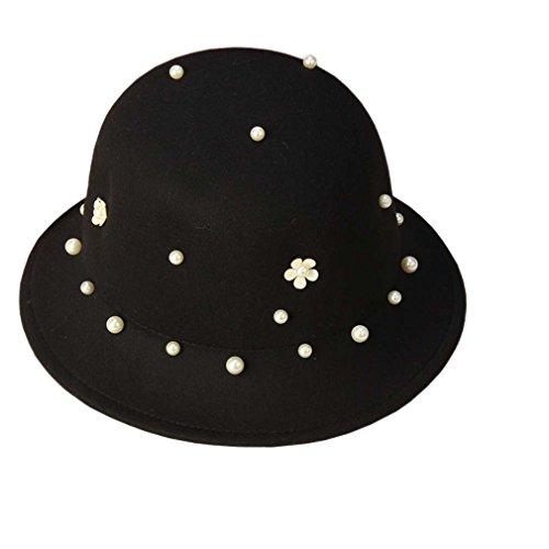 Automne Chapeau Feutre Drap Décoration Noir Avec Hiver Mode Perle Femme Imitation Acvip En Melon EB6PA6q